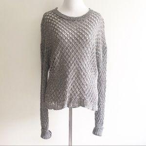 Inhabit Sweater Top Linen Crochet Size Medium